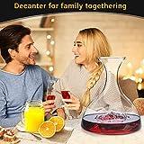 Decanter,Baban Wein Dekanter, 1L Rotwein Bleifreies Glasdekanter, Dekantiergefäß Glasbelüftungsweinkaraffe, Perfektes Geschenkset Dekantierer für Weihnachten Weinliebhaber - 6