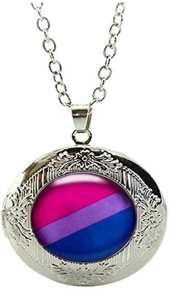 Bisexual Pride Stud Locket Necklace,Bisexual Jewelry,Pride Flag Blue Purple Pink Locket Necklace