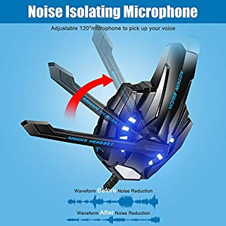 BENGOO G9000 Stereo Gaming Headset for PS4, PC, Xbox One Controller, Noise Cancelling Over Ear Headphones with Mic, LED Light, Bass Surround, Soft Memory Earmuffs for Laptop Mac Nintendo PS3 Games للبيع