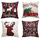 PSDWETS Merry Christmas and Christmas Tree Decorations Cotton Linen Winter Deer Pillow Covers Set of 4 Christmas Decor Throw Pillow Covers Cushion Cover 18 X 18