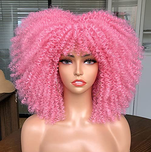 CURLCRAZY Curly Wig with Bangs for Black Women Short Kinky Curly Wig 14inch Afro Hair Halloween Party Christmas Cosplay Wigs(Pink)