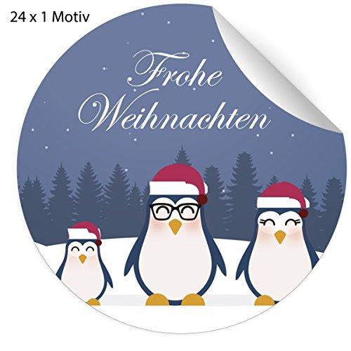 24 schattige haas Kerstmis stickers met slee rijden in de sneeuw, blauw groen, matte papieren stickers voor kerstcadeaus, etiketten voor tafeldecoratie, pakketten, brieven en meer (ø 45mm 5 x 24 stickers