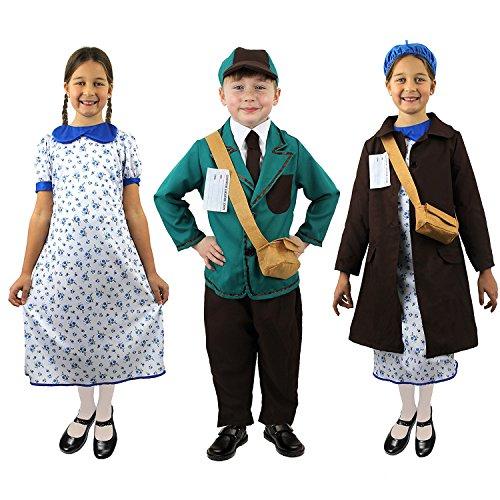 I LOVE FANCY DRESS LTD Kinder FLÜCHTLINGS/SCHULKINDER DER 1914-1945 Jahre = KOSTÜM DER 1+ 2 WELTKRIEGSZEIT =ALLE KOSTÜME SIND ZU ERHALTEN IN IN 4 VERSCHIEDENEN GRÖSSEN=