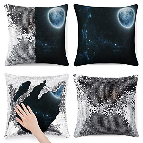 Beautiful Dream Moon and Stars - Funda de almohada con purpurina color plateado