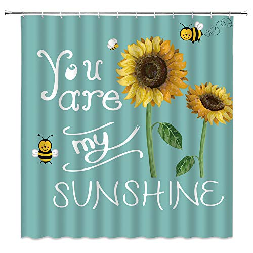 WZFashion Teal Sunflower Shower Curtain Turquoise Creative Rustic Flowers Funny Inspirational Quote You are My Sunshine Bee Vintage Art Spring Plant Nature Scenery Fabric Bathroom Curtain with Hooks