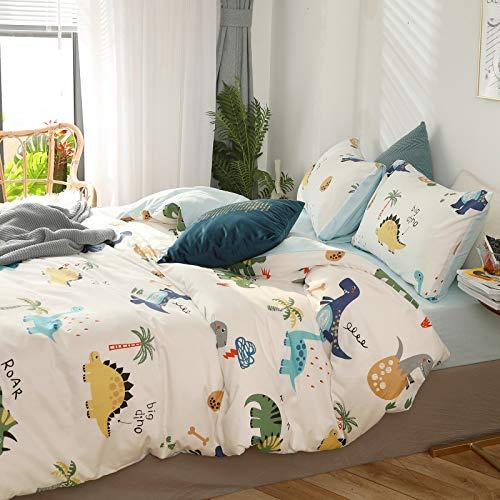 LFVIA Dino Bettwäsche 135x200 Junge 2 TLG Cartoon Tiere Muster Bettbezug Kinder Bettwäsche Jungen Mädchen Wendebettwäsche 100% Baumwolle Jugendliche Bettwäsche Hautfreundlich mit 1 Kissenbezug 80x80
