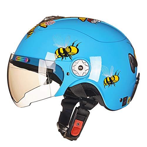 HJL Nette Roller Motorrad kinderhelm Vier Jahreszeiten Elektroauto Cartoon Junge Mädchen Baby Leichte Kindersitz (Farbe : Blau, größe : S)