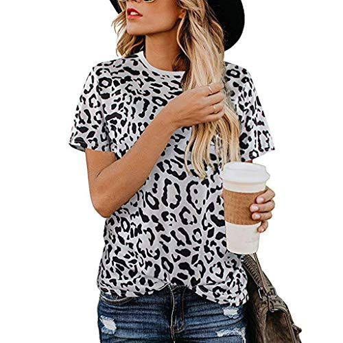 Buy Bargain Lovor Women's Summer Casual Shirts Leopard Printed Tops Basic Short Sleeve Soft Simple T...
