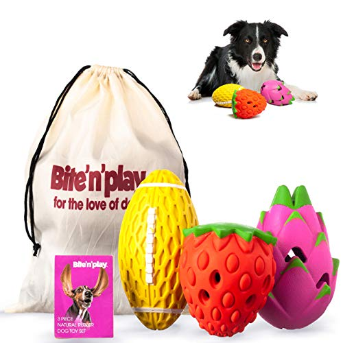 Bite'n'Play Dog Toys for Aggressive Chewers Large Breed – Premium Dog Chew Toys – Sleek Design Interactive Dog Toys – Squeaky Dog Toys – Great Value Dog Puzzle Toys 3-Pack Natural Rubber Dog Toy Pack