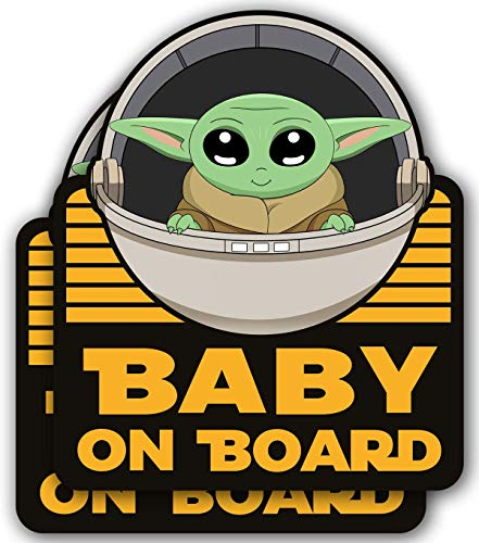 Super Cute 2 Pack Baby Yoda On Board 5x4 – Vinyl Decal Stickers for Car, Refrigerator, Luggage, Vehicle, Window, Bumper, Laptop, MacBook