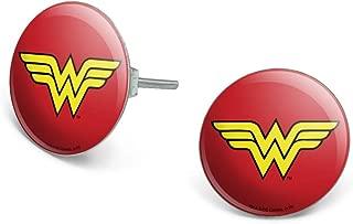 Wonder Woman Classic Logo Novelty Silver Plated Stud Earrings