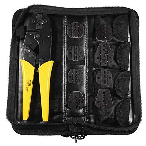 Cobeky Juego de herramientas de crimpado de terminales intercambiables con trinquete y cortacables, destornillador