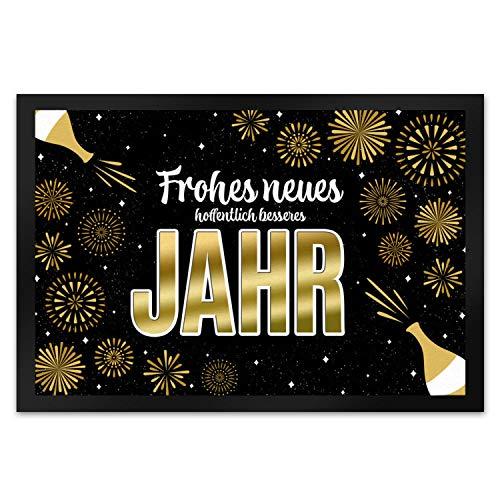 trendaffe - Frohes neues hoffentlich besseres Jahr Fußmatte XL mit Feuerwerk und Sekt Motiv