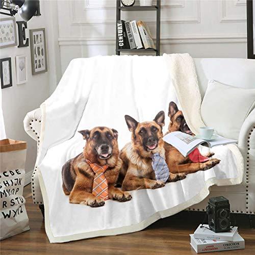 Loussiesd Manta de sherpa para perro con lazo para decoración de sofá, cama, manta de felpa para cachorros hippie 3D, manta de felpa doble de 156 x 172 cm