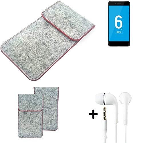 K-S-Trade® Handy Schutz Hülle Für Vernee Mars Pro 4G Schutzhülle Handyhülle Filztasche Pouch Tasche Hülle Sleeve Filzhülle Hellgrau Roter Rand + Kopfhörer