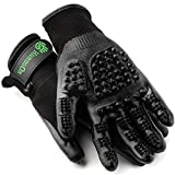 Handson Pet Grooming Gloves - #1 Ranked, Award Winning Shedding, Bathing, Hair Remover Gloves - Gentle Brush for Cats, Dogs, and Horses (Black, Medium)