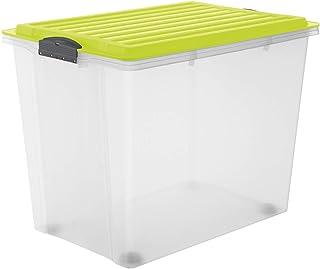 Rotho Compact Boîte de Rangement 70L avec Couvercle et Roulettes, Plastique (PP) sans BPA, Transparent / Vert, A3/70L (57,...
