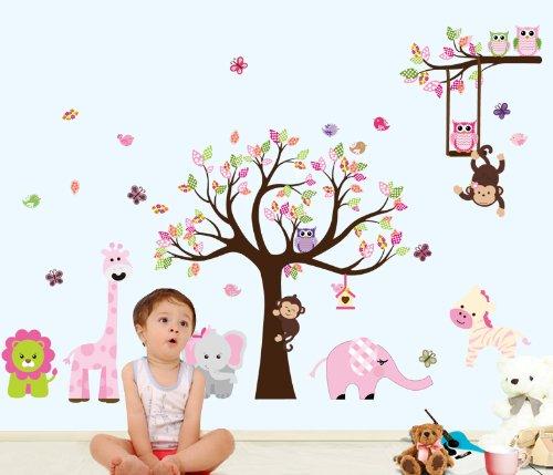 Bosque de monos de animal de la selva, la ardilla y el juego de columpio búho en hojas de colores Tree Vinilos decorativos etiqueta de la pared (L301)