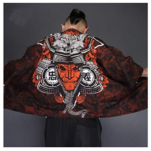 GODVC Yukata Haori Hombres Kimono japonés Samurai Cardigan Hombres del Traje Ropa for Hombre de la Chaqueta Kimono Kimono Yukata Camisa Haori (Color : 3, Size : XXL)