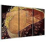 Stampe su Tela, Gustav Klimt Vi Quadri Moderni in 3 pannelli già intelaiati, canvas, pronto per essere appeso, 100x70cm