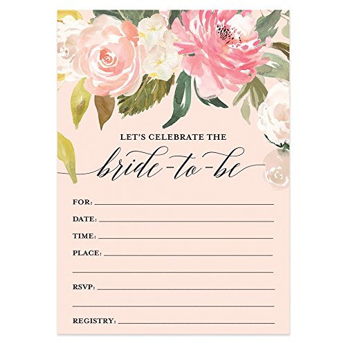 Digibuddha Bridal Shower Invitations with Envelopes (Pack of 50) Beautiful Fill-In Floral Wedding Shower Party Invites Excellent Value Invitations VI0039