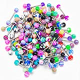 Haluoo Wholesales Tongue Rings, 50 Pcs Colorful Barbell Tongue Rings Bar Stud Rainbow Candy Stainless Steel Ball Tongue Rings Bars Piercing Jewelry(Color Random) (Multicolor)