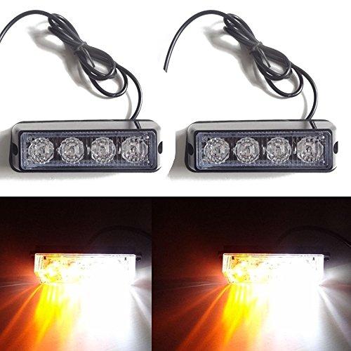 Viktion 2pcs * 8W 4 LEDs Feux de Pénétration Lumière Stroboscopique Eclairage Clignotant à 17 Modes pour Voiture Camion véhicule SUV DC 12-24V (Jaune & Blanc)