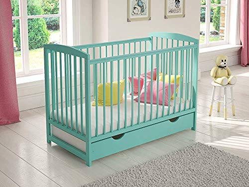 Rigid Foam mattresses Made of Pine Wood Crib with Drawers Wooden Security Fence Obstacle mouthguard,Blue