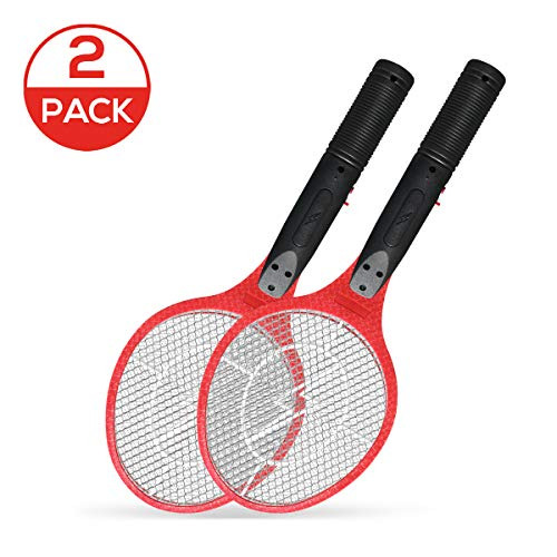 Vettora Electric Fly swatter 3 Layer Hollow Out Rechargeable   Bug Zapper - Best High Voltage Handheld Mosquito Killer   Wasp, Fly, Insect Trap Racket for Indoor (Not Hollow Out Red 2 Pack)