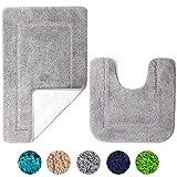 SOANNY Badematte 2er Set, weiche rutschfeste Mikrofaser mit hoher Dichte wasserabsorbierend Badezimmermatte, 53x86 cm Badezimmer Teppich und 50x50 cm Toilettenmatte, Duschvorleger Grau