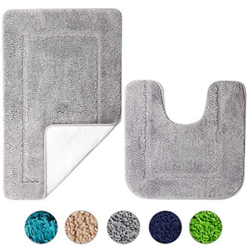 SOANNY Badematte 2er Set, weiche rutschfeste Mikrofaser mit hoher Dichte wasserabsorbierend Badezimmermatte, 53x86 cm Badezimmer Teppich & 50x50 cm Toilettenmatte, Duschvorleger Grau