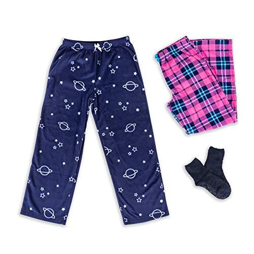 Mad Dog – Calça de pijama de microlã para meninas + meias tipo chinelo, pacote com 2 ou 3, Space / Plaid, Medium (7-8)