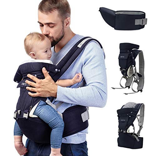 Sweety Fox - Multi-Position Baby Carrier with Hip Seat - for Babies & Child from 3 Months to 3 Years - Cotton and Mesh Breathable Fabric with Padding - Comfort, Safety with Adjustable Harness