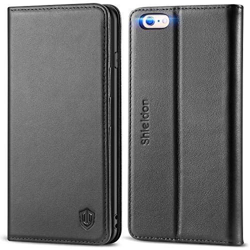 iPhone 6 Plus Case iPhone 6+ Case, SHIELDON Genuine Leather Wallet Case Folio Flip Book Design w/ Kickstand, Credit Card Slots, Magnetic Closure Compatible with iPhone 6+ / 6 Plus / 6S Plus, Black