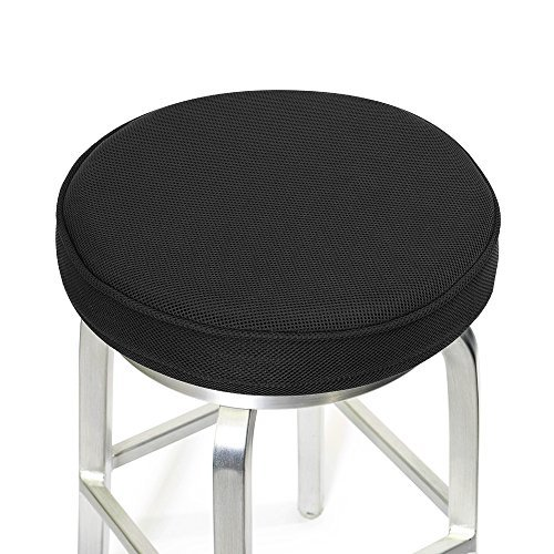 Shinnwa Bar Stool Cushions,Memory Foam Bar Stool Covers Round Cushion with Non-Slip Backing and Elastic Band 14' Black