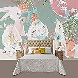 Pintado A Mano De Dibujos Animados Lindo Animal Papel Pintado Niña Dormitorio Conejo Niños Habitación Fondo Pared Papel Mural,250cmx175cm