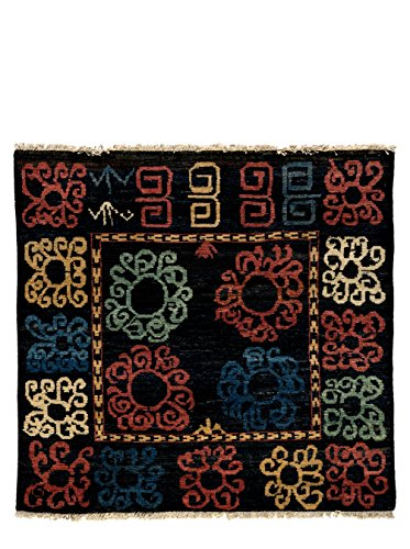 Solo Rugs Kaitag Hopi One of a Kind Hand Knotted Area Square Rug, Onyx, 4' 9