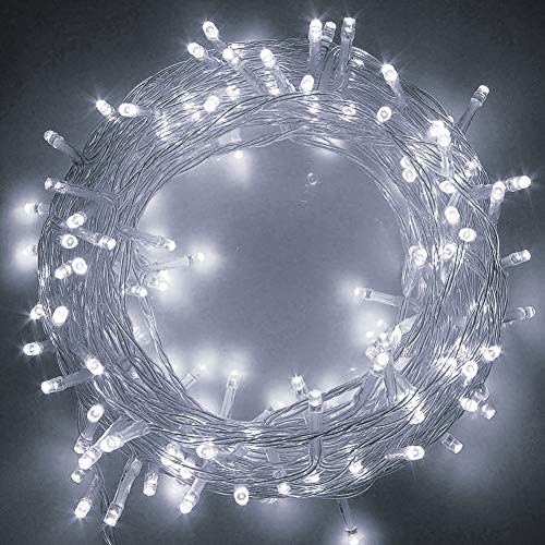 Twinkle Star 66ft 200 LED Indoor String Lights, Pulg in String Lights 8 Modes Waterproof Indoor Outdoor Christmas Tree Wedding Party Bedroom Decorations (White)