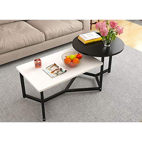 Mesitas de café Panel Combinación 2 en 1 Tablas de la Sala de café a Base de Muebles de Madera Redonda de Dos Tonos de té de Mesa Robusta Fin Mesa de Centro (Color : Black White)