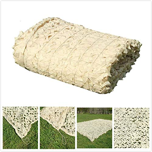 ZHhome Camouflage Net,Beige Military Size Reinforced Camouflage Net For Hunting Anti UV Balcony Garden Gazebo Decoration 2X3m 3X3m 3X4m 3X5m 10×10m (Size : 12x12m)