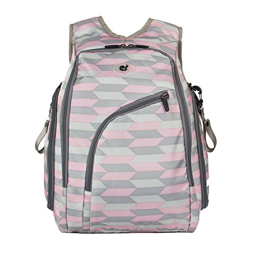 ECOSUSI Diaper Backpack Fully-opened Baby Diaper Bag Travel Nappy Bag with Changing Pad, Insulated, Pink