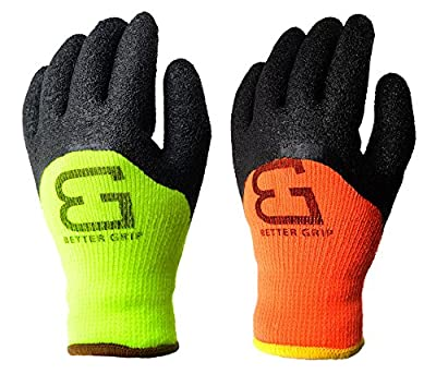 Better Grip Safety Winter Insulatated Crinkle Finished 3/4 Latex Coated Work Gloves, 3 Pairs/ Pack