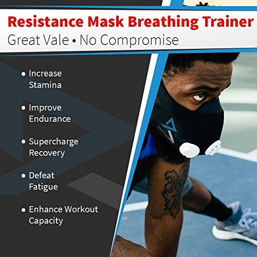 TRAININGMASK Resistance Workout Training Mask | Adjustable Cardio Fitness Cycling Running Triathlon Lifting Endurance Sports Exercise (Black, Medium)