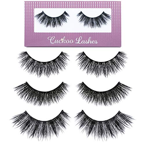 Cuckoo False Eyelashes 3D Faux Mink Lashes Dramatic Natural PBT Silk Fiber 3Pairs False Lashes High Volume Fluffy 100% handmade