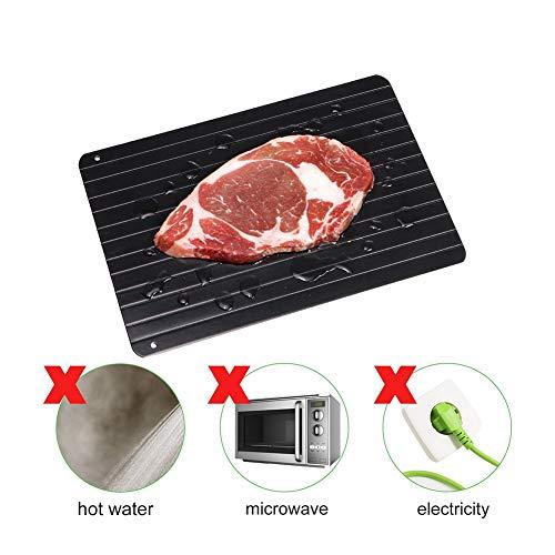 YLEI Auftauplatte, Schnelle Abtauen Tablett, ohne Elektrizität Mikrowelle heißes Wasser oder andere Werkzeuge, Auftauen Tiefkühlkost Fleisch, hält schnell frisch,29.5x20.8x0.3CM