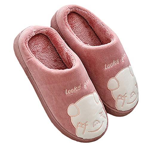 CNNWomen Mujer Invierno Calido Caricatura Cochinillo Zapatillas, Antideslizante CáLido Pantuflas Casa Zapatos Cómodas Suave Slippers,A,38/39EU