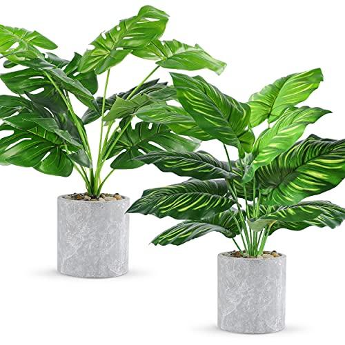 WUKOKU 2 pcs 16' Fake Plants Small Artificial Plants in Pots Faux Plants Indoor...