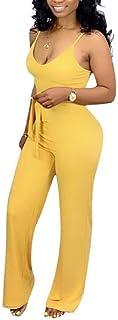 WE&energy 女性セクシーなプラスサイズのウエストスパゲッティストラップジャンプスーツ