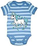 Hariz - Body para bebé, diseño de rayas y caballo, incluye tarjeta de regalo azul Azul marino/azul cielo Talla:3-6 meses