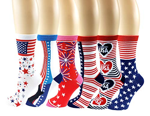 6 Pairs Novelty Design Crew Socks, Christmas Holidays Crazy Fun Colorful Fancy Design (4th July / Independence Day)